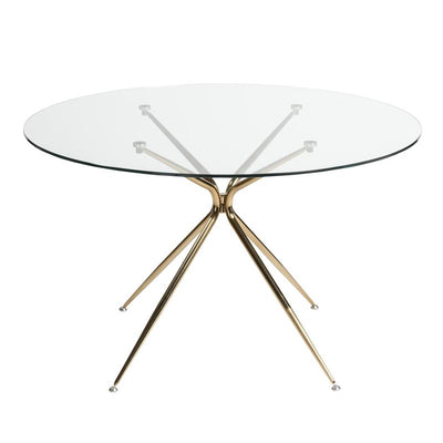 Gorgeous Round GlassTop Meeting Table W RoseGold Base - Round glass conference table