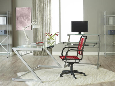 Casual Red Bungee-Back Rolling Office Chair