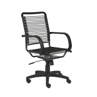Casual Black Bungee-Back Rolling Office Chair
