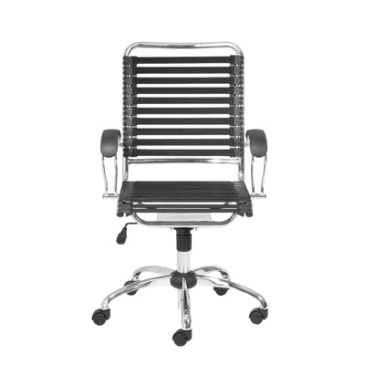 Modern Chrome & Black Office Chair with Comfortable Bungee Supports