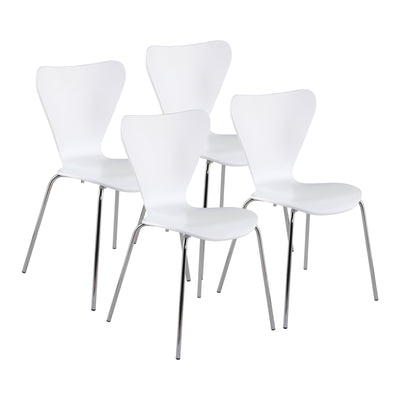 Retro White Guest or Conference Chair w/ Steel Base (Set of 4)