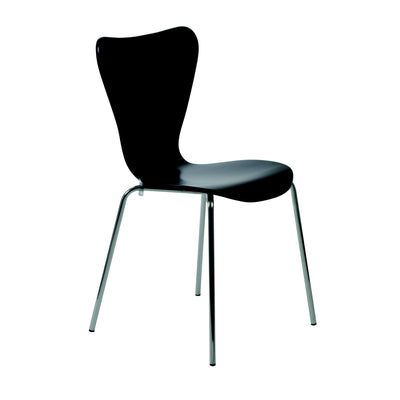 Classic Black Guest or Conference Chair with Steel Legs (Set of 4)