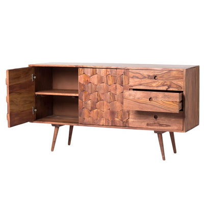 "55"" Stunning Sheesham Wood Credenza with Unique Pattern"
