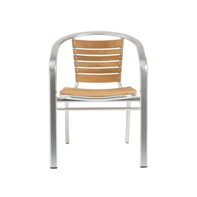 Casual Polished Aluminum and Teak Guest or Conference Chairs (Set of 6)