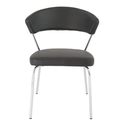 Black Leatherette Guest or Conference Chair w/ Curved Back (Set of 4)