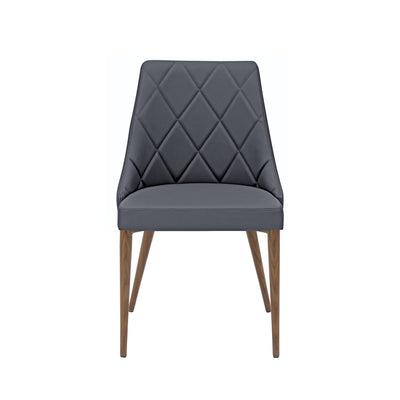 Patterned Gray Leather Guest Chairs with Walnut-Finished Steel Legs (Set of 2)