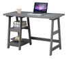 "47"" Office Desk with Built-in Shelves in Charcoal Grey Finish"