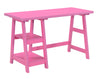 "47"" Office Desk with Built-in Shelves in Pink Finish"