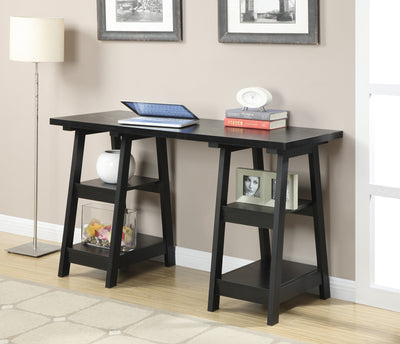 "Modern 54"" Black Double Trestle Office Desk"