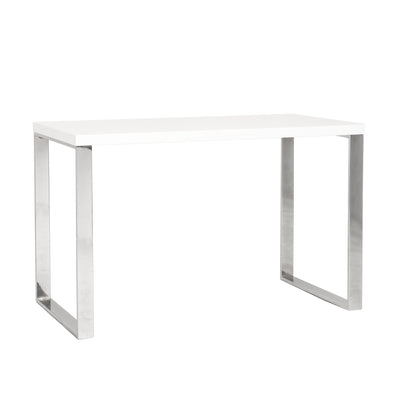"Premium White Lacquer and Chrome 48"" Modern Desk"