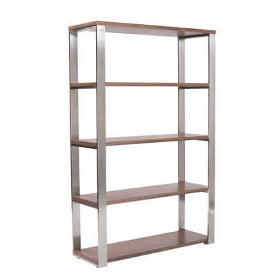 Walnut Veneer and Stainless Steel Office Bookcase