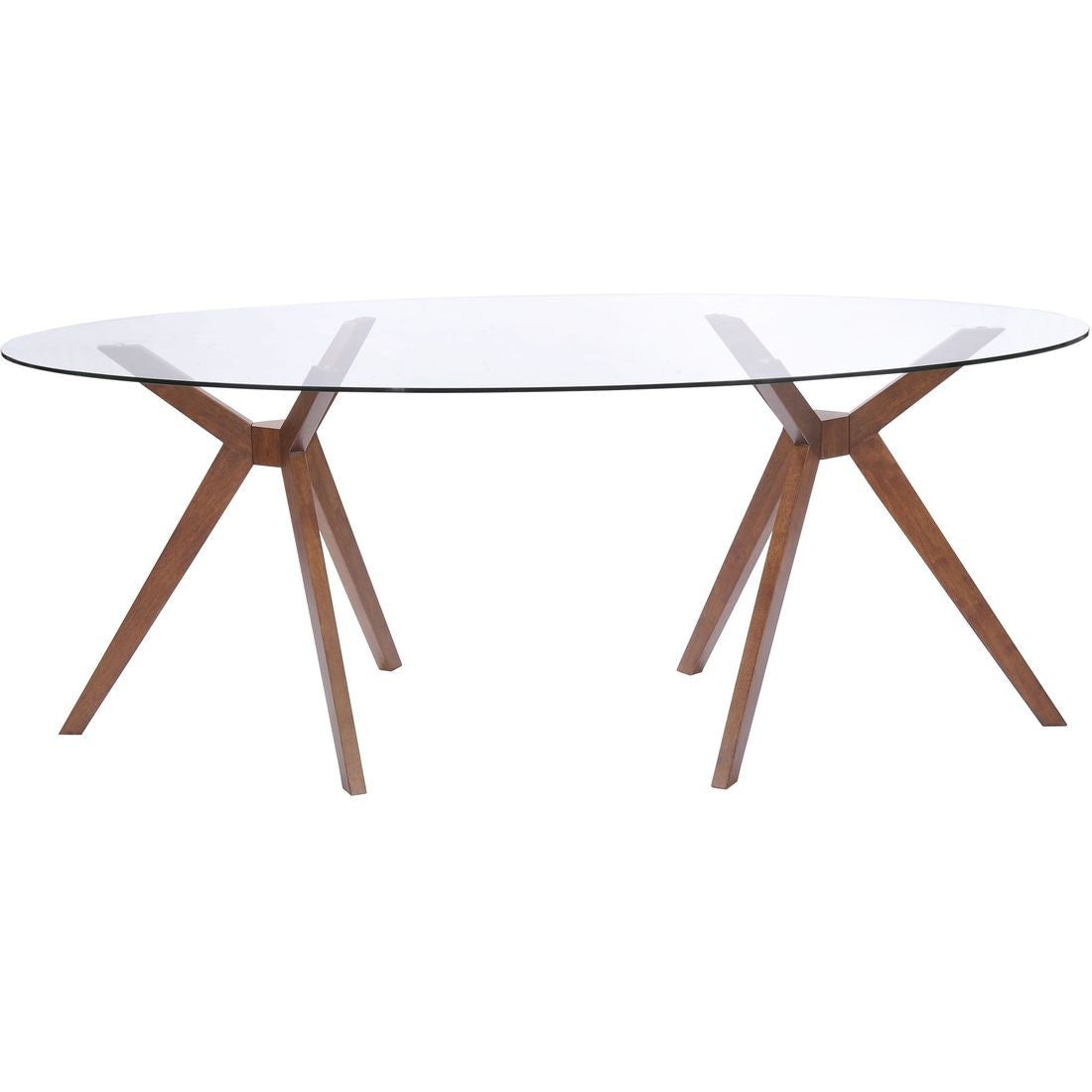 Modern Oval Glass Desk Or Conference Table With Unique Walnut - Oval glass conference table