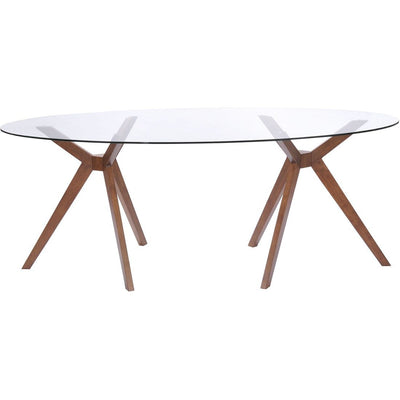 "79"" Modern Oval Glass Desk or Conference Table with Unique Walnut Legs"