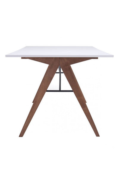 "Modern 71"" Office Desk with Walnut Legs & White Top"