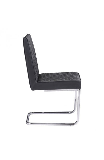 Black Checkered Leather Conference Chair with Chrome Frame (SET OF 2)