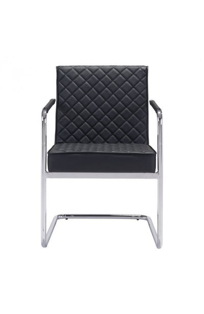 Black Checkered Leather Conference / Guest Chair with Chrome Arms (Set of TWO)