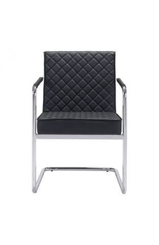 Black Checkered Leather Conference / Guest Chair with Chrome Arms