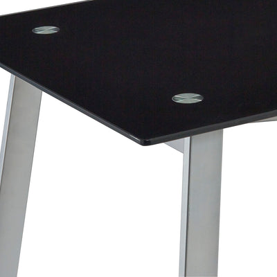 Stylish Single Pedestal V-Desk in Black with Glass Top