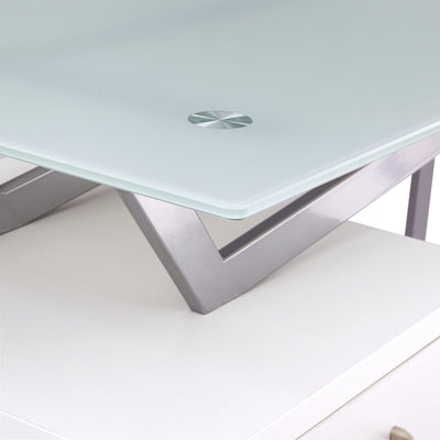 Stylish Single Pedestal V-Desk in White with Glass Top