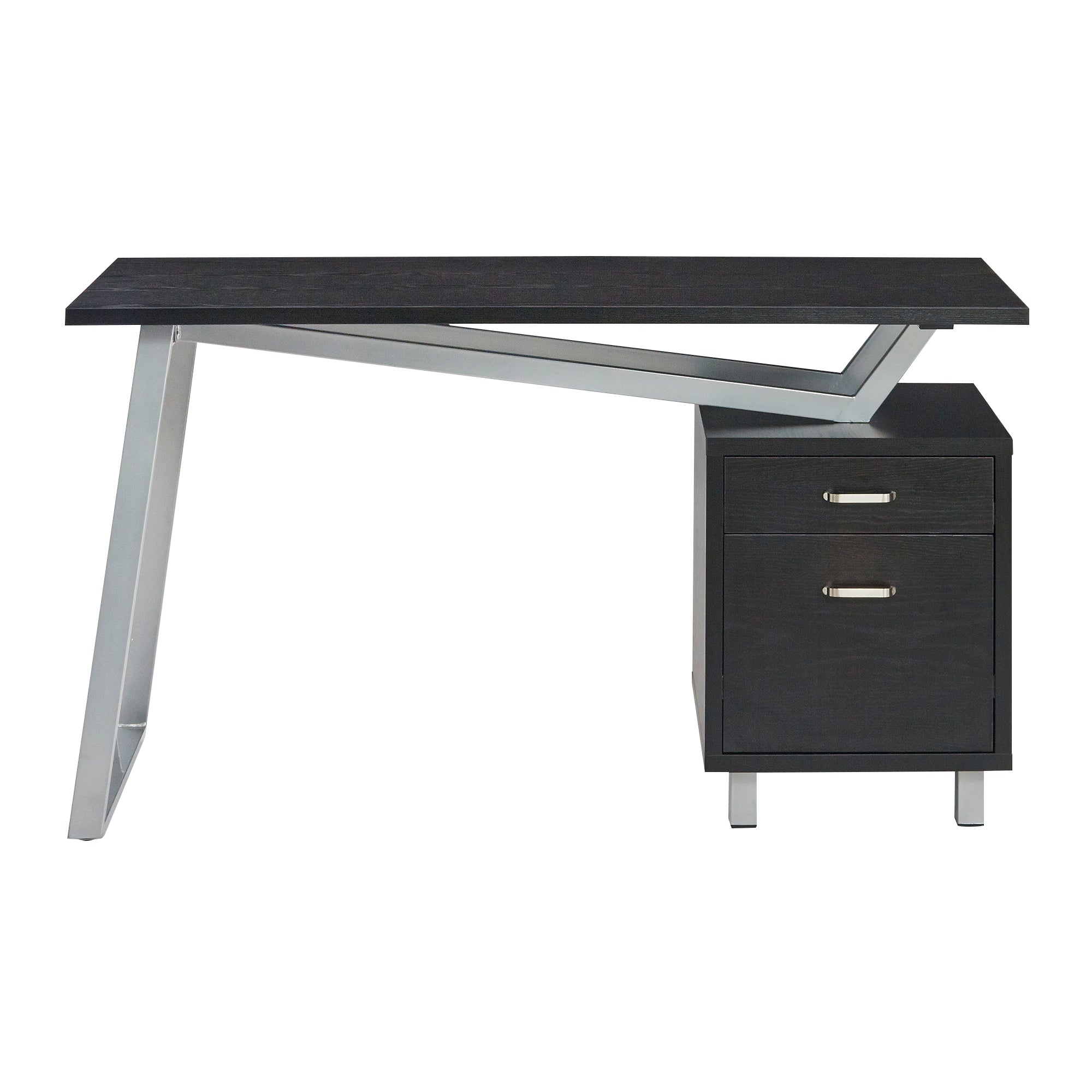 Stylish V-Desk in Black with Wood Top and Drawers