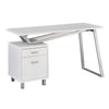 Stylish V-Desk in White with Wood Top and Drawers