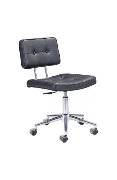 Modern Low-Back Black Leather Office Chair with Chrome Base