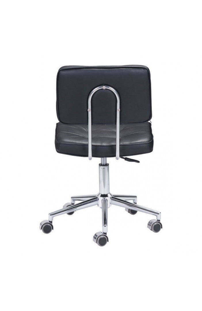 Modern Low Back Black Leather Office Chair With Chrome Base