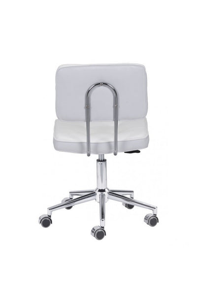 Modern Low-Back White Leather Office Chair with Chrome Base