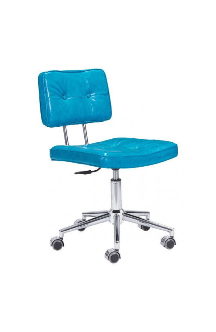 Modern Low Back Blue Leather Office Chair With Chrome Base