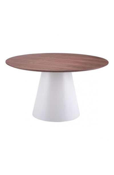 "53"" Circular Meeting Table with Walnut Top & Matte White Base"