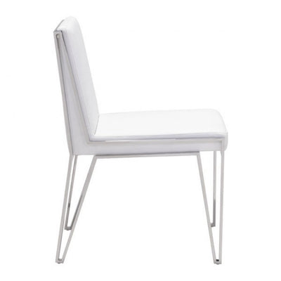 Understated White Leatherette Guest or Conference Chairs (Set of 2)