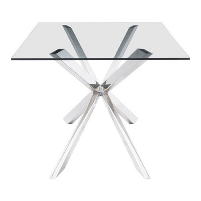 "78"" Double-X Glass Top and Steel Conference Table"