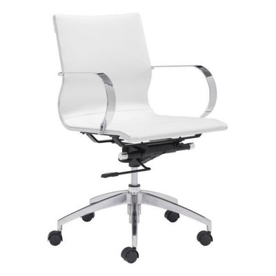 White Low-Back Ergonomic Office Chair