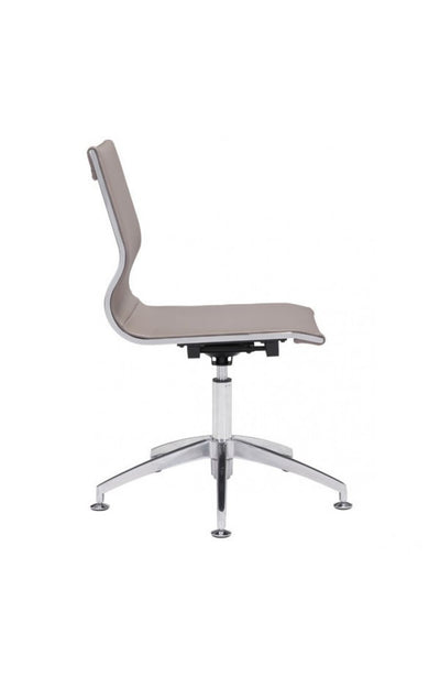 Modern Taupe Leather & Chrome Conference Chair