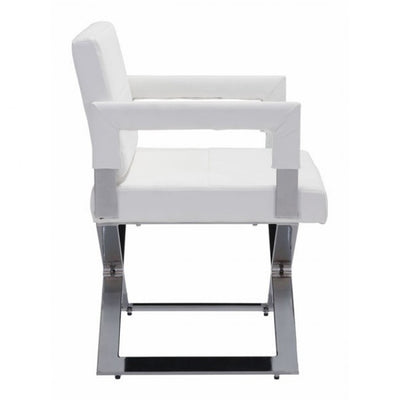 Bold White Leatherette Guest or Conference Chair