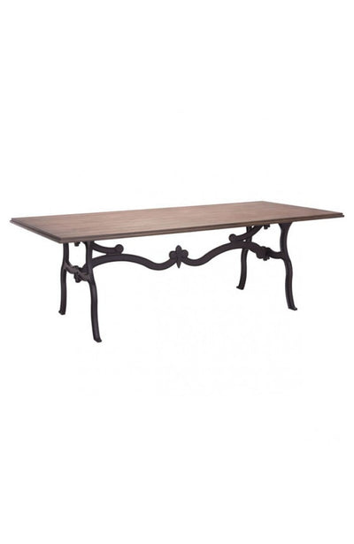 "95"" Distressed Natural Conference Table with Intricate Black Metal Base"
