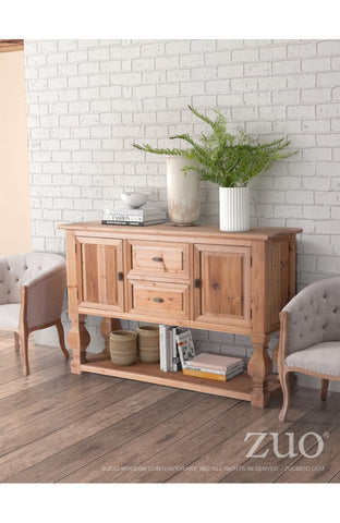 "Solid Fir 64"" Storage Credenza in Distressed Natural Finish"