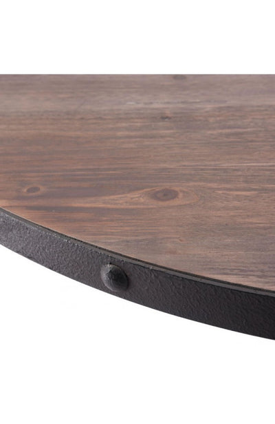 "Fir Wood & Antique Black 42"" Circular Meeting Table"