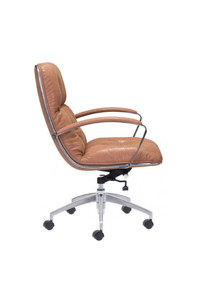 Vintage Coffee Leather Office Chair with Chrome Base