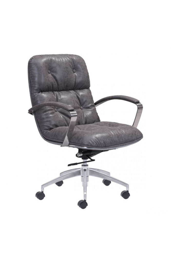 Gray Leather Office Chair With Vintage Style By Zuo Officedesk Com