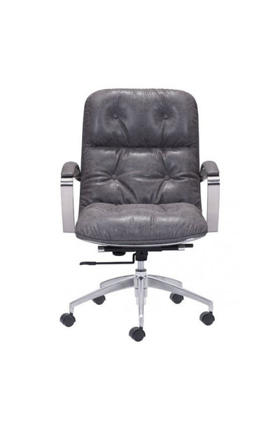 Vintage Gray Leather Office Chair with Chrome Base