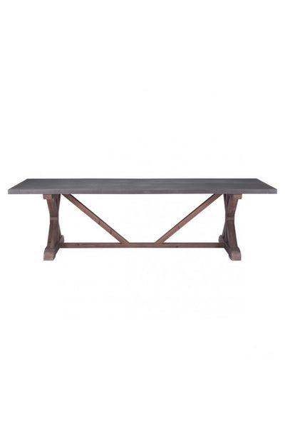 "110"" Gray & Distressed Wood Vintage Conference Table"