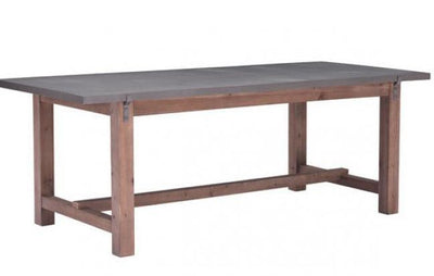"87"" Modern Conference Table or Desk with Gray Top & Fir Wood Base"