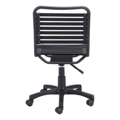 Armless Black Wheeled Bungee Office Chair