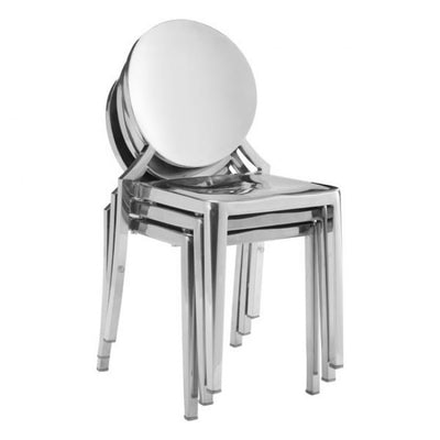 Silver Stainless Steel Guest or Conference Chairs (Set of 2)