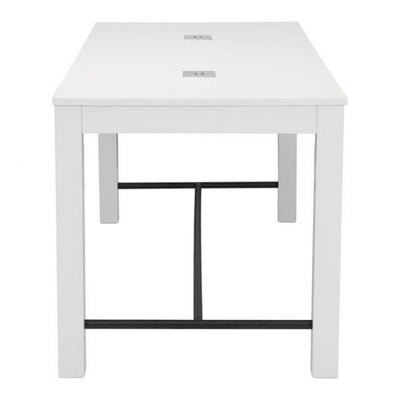 "72"" Stylish Rectangular White Executive Office Desk w/ USB panels"