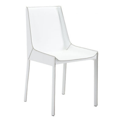 Clean White Leatherette Guest or Conference Chair (Set of 2)