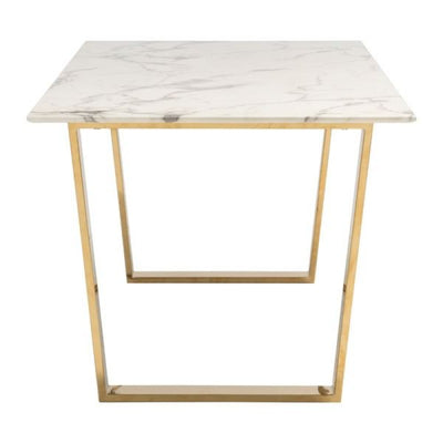 "71"" Faux Marble Office Desk with Brass Plated Steel Legs"