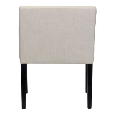 Sleek Beige Linen & Birchwood Guest or Conference Chair