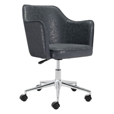 Vintage Distressed Black Leatherette Office Chair
